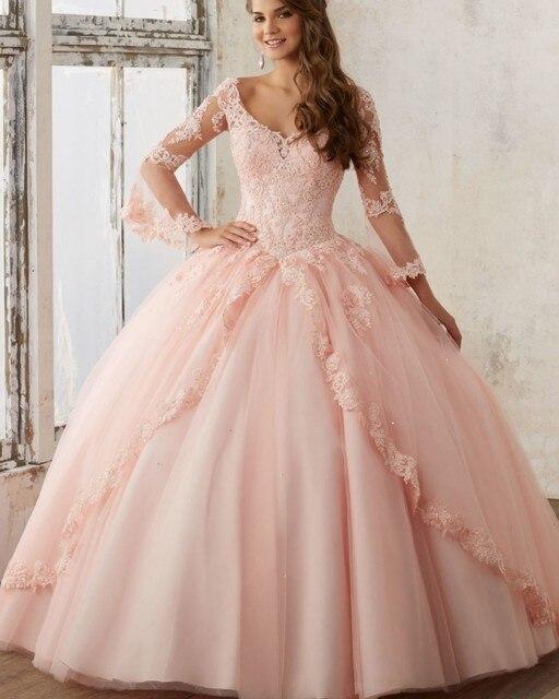 1d58ef84501c Princesa blush quinceanera vestidos femininos sino mangas compridas rendas  apliques vestido de baile vestido de debutante
