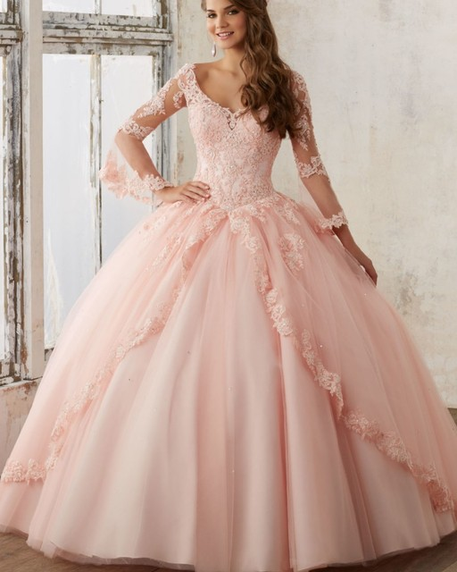 d46b5e58ab0af Princess Blush Quinceanera Dresses Feminine Bell Long Sleeves Lace  Appliques Debutante Ball Gown Sweet 16 Party Dress QD32