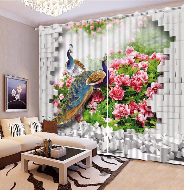 Chinese Curtains Peacock Flower Photo Curtains For Living Room Bedroom  Decoration Window Blinds Kitchen Curtians Cotton