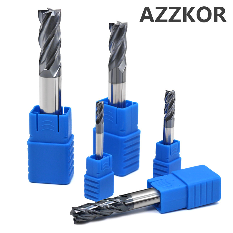 Milling Cutter Alloy Coating Tungsten Steel Tool Cnc Maching EndMill AZZKOR Top  Milling Cutter Kit Milling Machine Tools