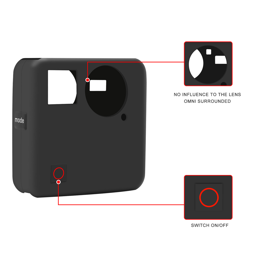SHOOT Soft Silicone Protective Cover Case Lens Cap for GoPro Fusion Action Camera Housing Cover Case for Go Pro Accessories in Sports Camcorder Cases from Consumer Electronics