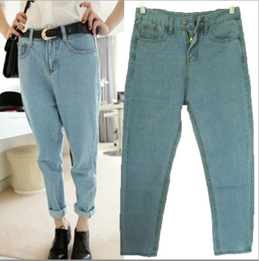 Calças de brim das mulheres novo 2015 solto calças Jeans BF estilo Plus Size casuais calças Jeans harém magras calça Jeans de cintura alta mulheres Jeans rasgado