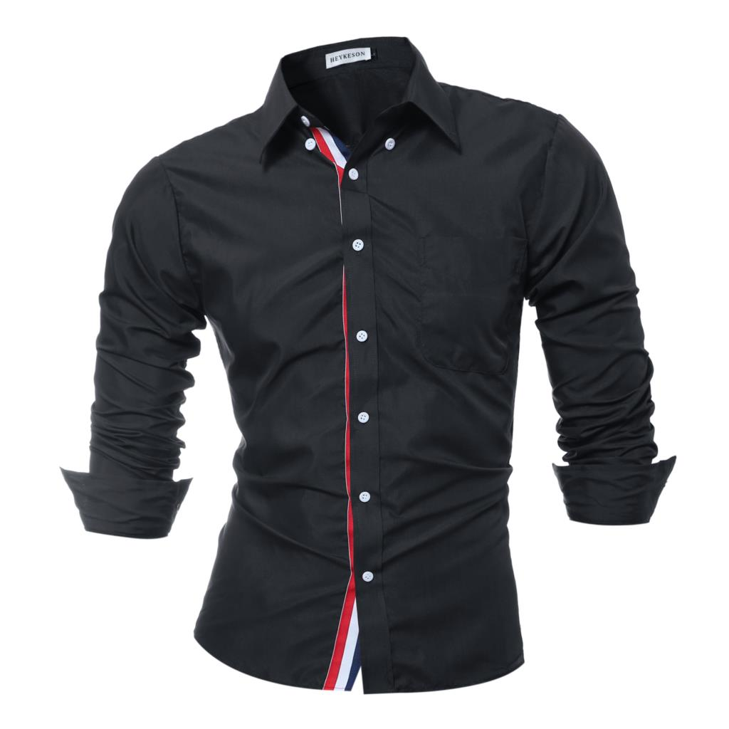 Brand 2018 Fashion Male Shirt Long Sleeves Tops Solid Color High