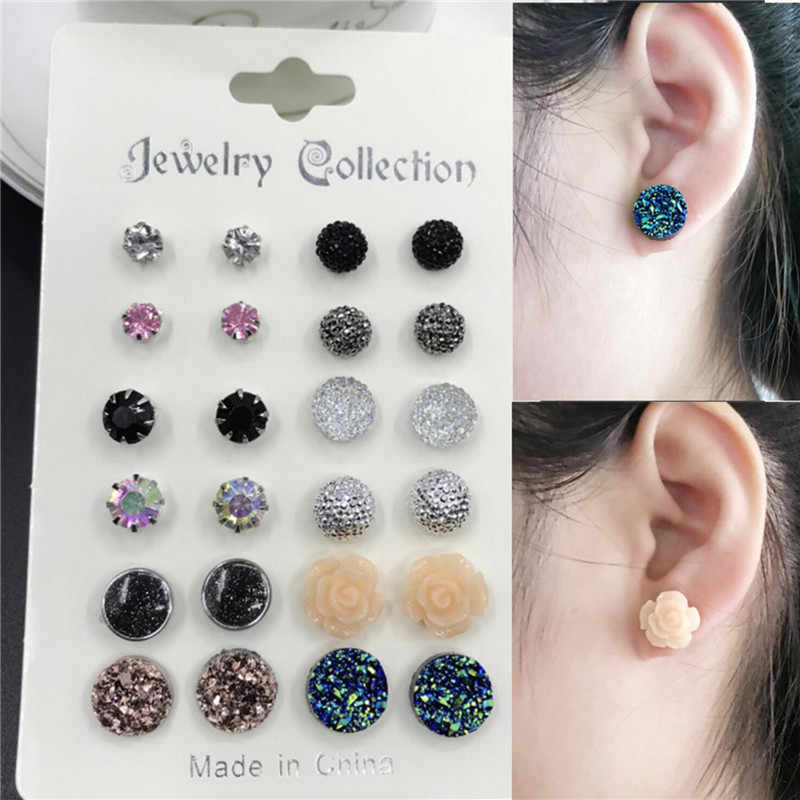 12 pairs/set Crystal 2019 New Fashion Earrings Set Women Jewelry Accessories Piercing Ball Stud Earring kit Bijouteria brincos