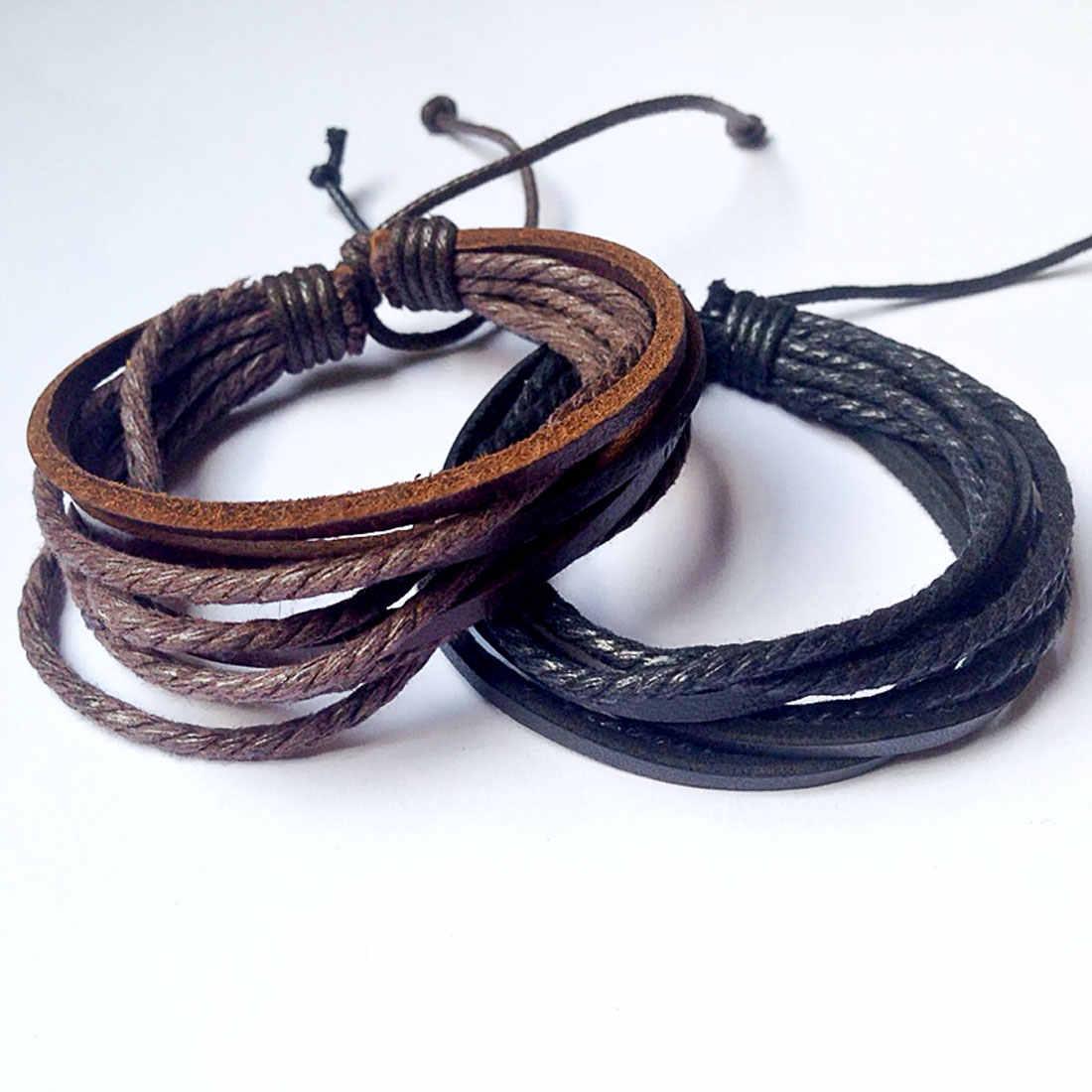 2018 новый тренд, многослойный ручной браслет, модный стиль, мужской и женский браслет для пары, повседневный Дикий мужской кожаный браслет