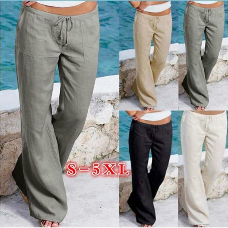 Fashion Casual Plus Size 5xl Pants Women 2019 Summer Autumn Pantalon Femme Flare Pants Pocket Trousers Bell Bottom Pants