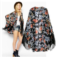 2015 new summer plus size women long coat  printed jacket chiffon shawl Sunscreen shirt  Tassel  cardigan kimono