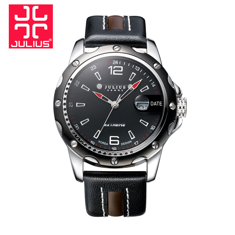 Julius Top Brand Watches Luxury Fashion Casual Man Quartz Sports Watch Men Wristwatches Date Genuine Leather Relogio Masculino