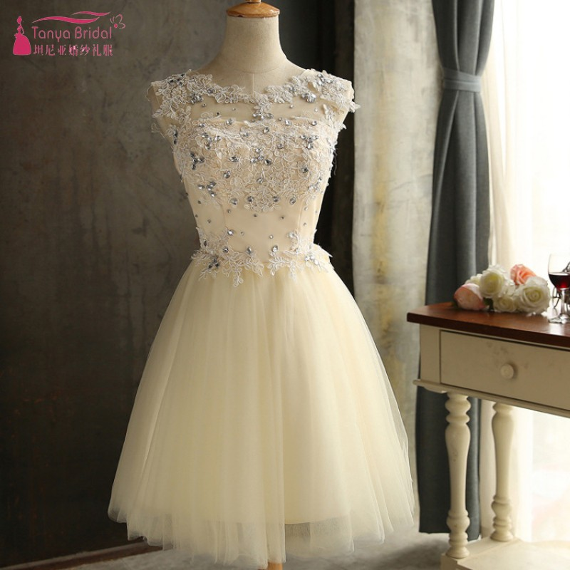Champagne Homecoming   Dresses   Illusion Neck Crystal Mini   Cocktail     Dress   Simple Party Gown Cheap In Stock DQG299