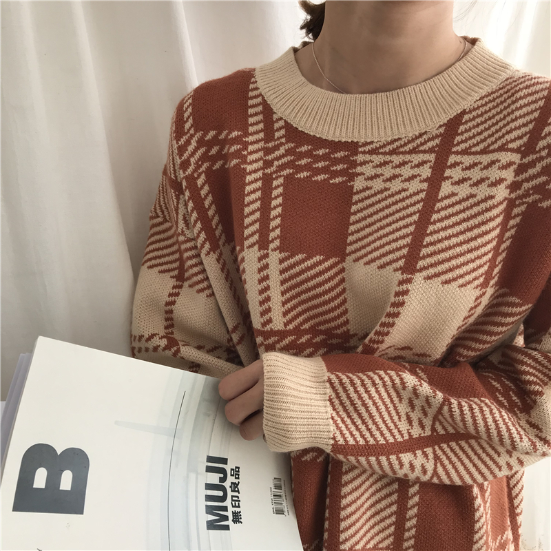 3 Colors 2018 Autumn And Winter Korean Style O Neck Plaid Thicking Plaid Warm Knitted Sweaters Womens Pullovers Womens (B8122)