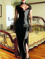 Sexy Women Black Latex Dress Rubber Long Dress Body hugging Bodysuit