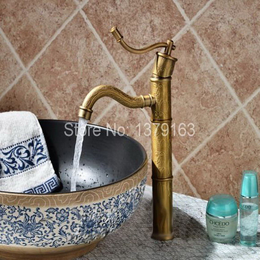 vintage style antique faucet black and army green tall bathroom faucets brass finish washbasin taps Vintage Retro Antique Brass Bamboo Style Single Lever Bathroom Vessel Sink Basin Faucet Mixer water Taps aan014