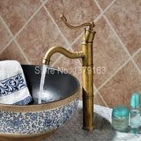 Vintage Retro Antique Brass Bamboo Style Single Lever Bathroom Vessel Sink Basin Faucet Mixer water Taps aan014