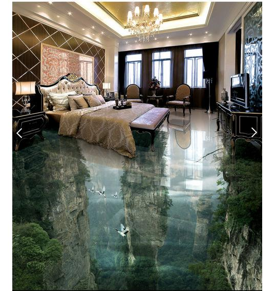 Custom 3d photo wallpaper 3d floor painting wallpaper Peak cliff sitting room bathroom floor painting 3d living room decoration free shipping flooring custom living room self adhesive photo wallpaper wonderland lotus pool 3d floor thickened painting flower