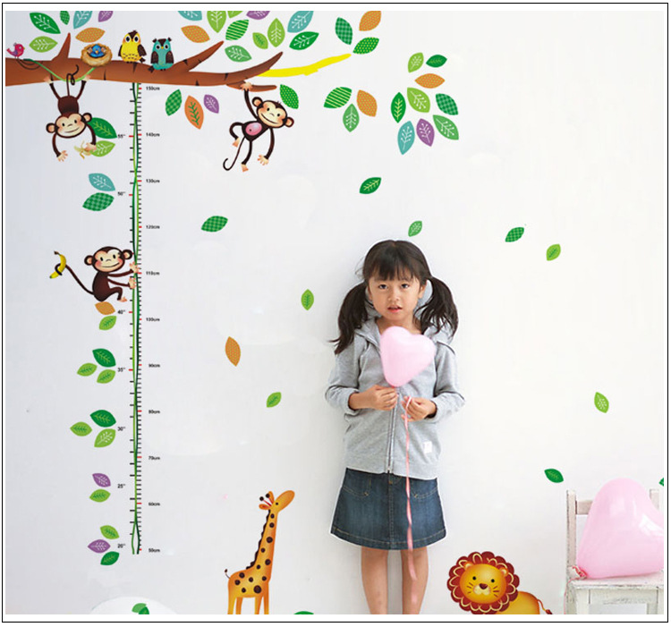 Fashion 3D wall stickers 60*90CM cute cartoon fairy  forest Wall sticke skids height Measure Art home decor Waterproof stickers