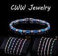 Fashion CZ Simulated Diamond Charm Lovely Red Green Blue Austrian Crystal Bracelets For Women Christmas New Year Gift CB087