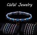 Moda CZ Diamante Simulado Encanto Precioso Rojo Verde Azul de Cristal Austriaco Pulseras Para Las Mujeres Navidad Regalo de Año Nuevo CB087