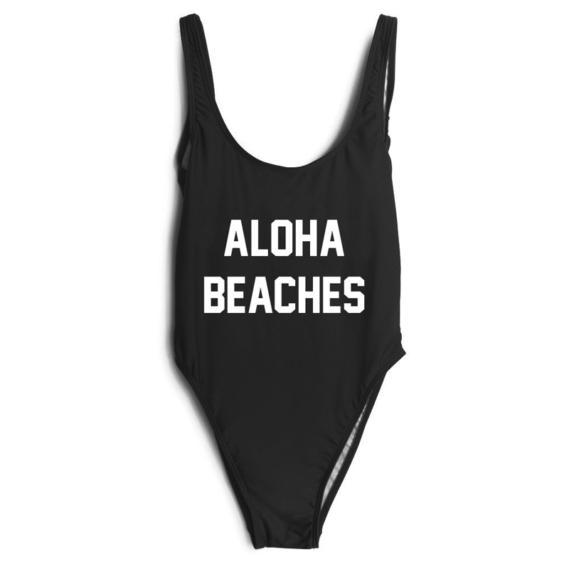 ALOHA BEACHES Sexy Monokini One piece swimsuit Swimwear bathing Suits backless letter Beachwear Bodysuit Jumpsuit xxxl one piece swimsuit push up plus size swimwear famale 2017 black backless bodysuit summer beachwear bathing suits monokini
