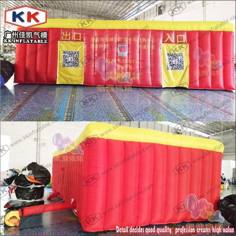 KK Manufacturer Fire control escape inflatable fire fighting drill tent for school ...