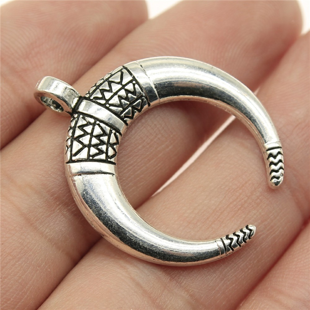 WYSIWYG 3pcs 34*27mm Horns crescent moon Pendants Charms Findings Jewellery Making Findings for DIY Craft