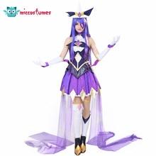 Syndra Cosplay Kostüm Lila Top Rock Halloween Outfit