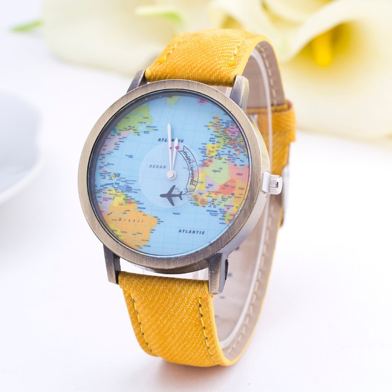 Nbsameng world map watch fashion casual design clock women men nbsameng world map watch fashion casual design clock women men airplane denim fabric quartz watch new unisex watch in womens watches from watches on gumiabroncs Choice Image
