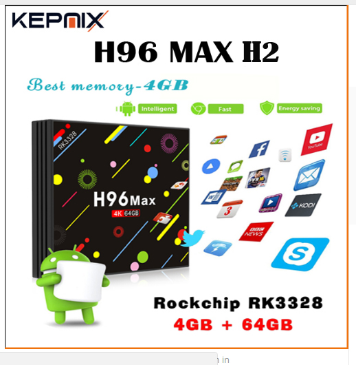 5pcs by dhl H96 MAX H2 Android 7.1 TV Box RK3328 Quad Core