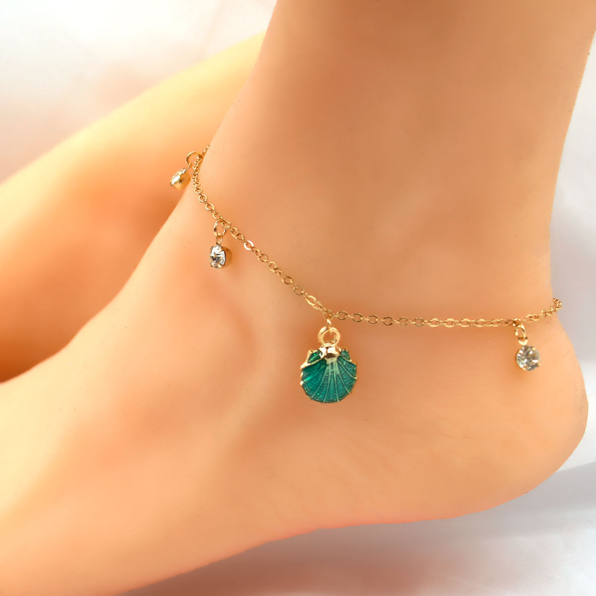 Retro Beach Style Metal Shell Foot Chain Anklets Exquisite Crystal Pendant Adjustable Anklet Bracelet Jewelry