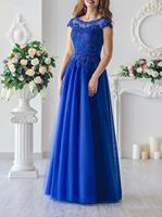 Royal Blue Lace With Applique Beadings Cap Sleeves Mother Of Bride Dress Long A Line Mother Of Groom Dress Elegant Evening Grown