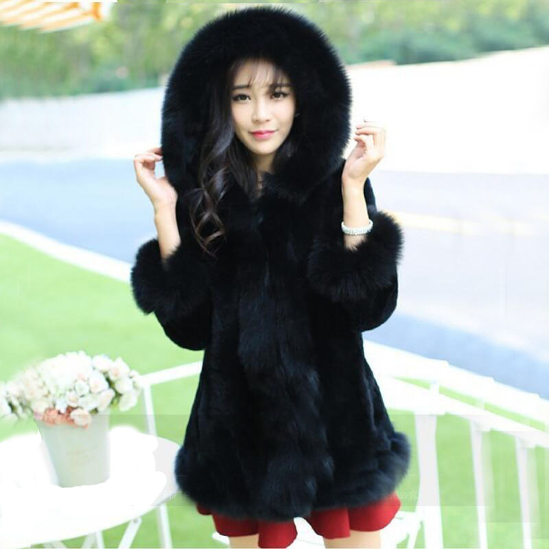 a65db14ab Hot sell 2015 new women winter fur coat Black White rabbit fur warm cozy  slim fashion faux fur jacket fox hooded fur coat-in Faux Fur from Women's  Clothing ...