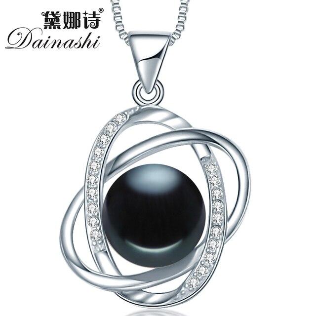 Dainashi новое прибытие звезда крест 10-10.5 мм черный круглый хлеб жемчужина стерлингового серебра 925 презентация подвеска для новобрачных женщины лучший подарок