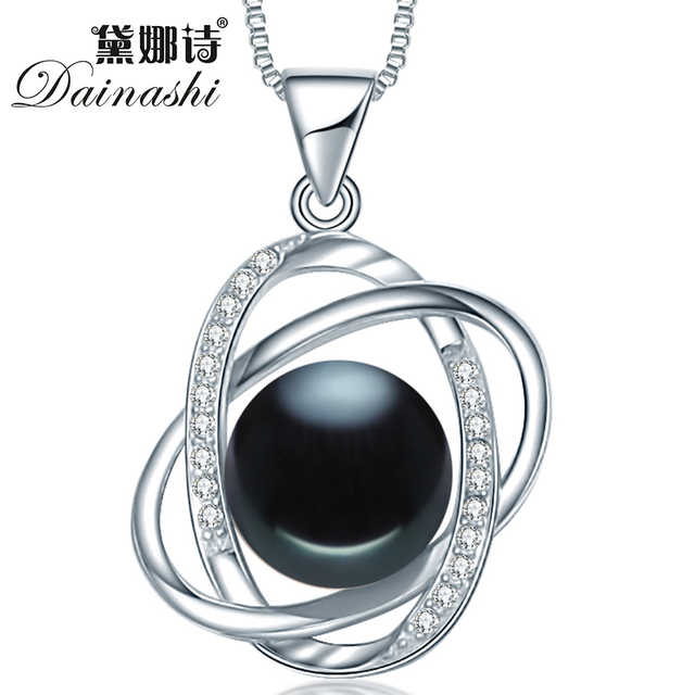 Dainashi new arrival star cross 10-10.5mm black bread round pearl 925 sterling silver slide pendant for bridal women best gift
