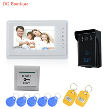 (1 set)7 inch video doorbell intercom system door phone speaker intercom outdoor inductive card & touch panel waterproof IP55