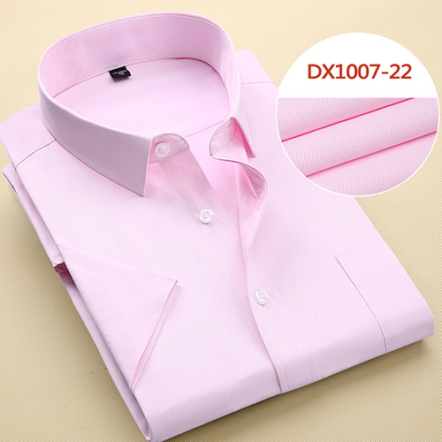 Summer Men's Short-sleeve White Basic Dress Shirt with Single Chest Pocket Standard-fit Business Formal Solid/twill/plain Shirts 16