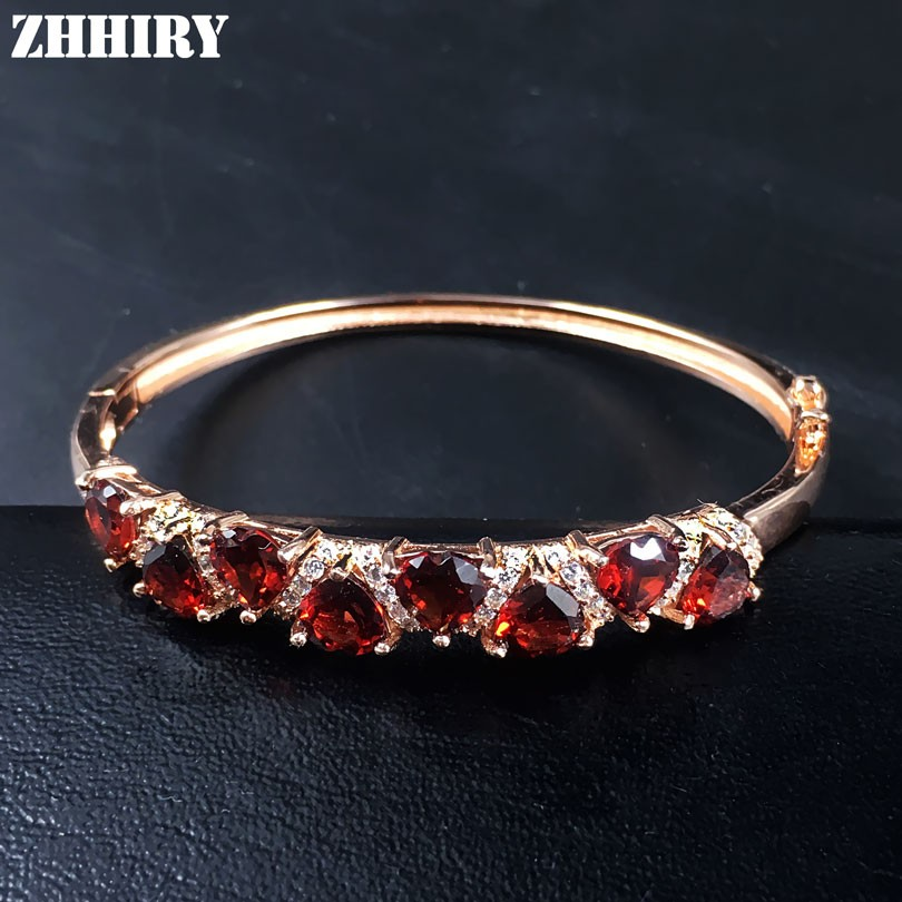 ZHHIRY Natural Garnet Gemstone Bracelet Real 925 Sterling Silver Women Jewelry Heart Shaped