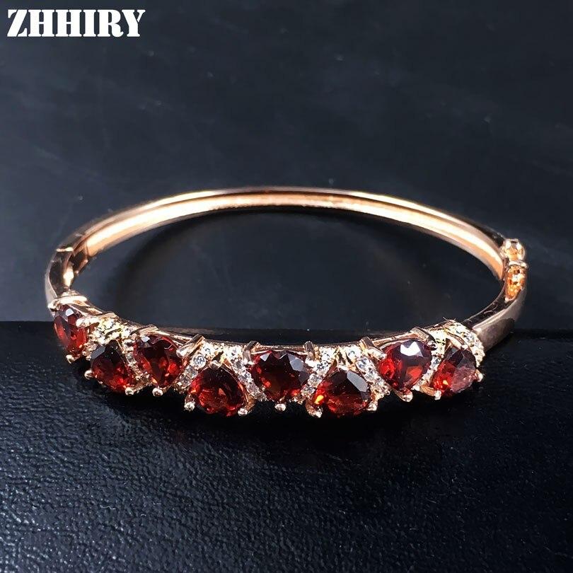 ZHHIRY Natural Garnet Gemstone Bracelet Real 925 Sterling Silver Women Jewelry Heart Shaped 925 sterling silver shining multiwire shaped women s bracelet