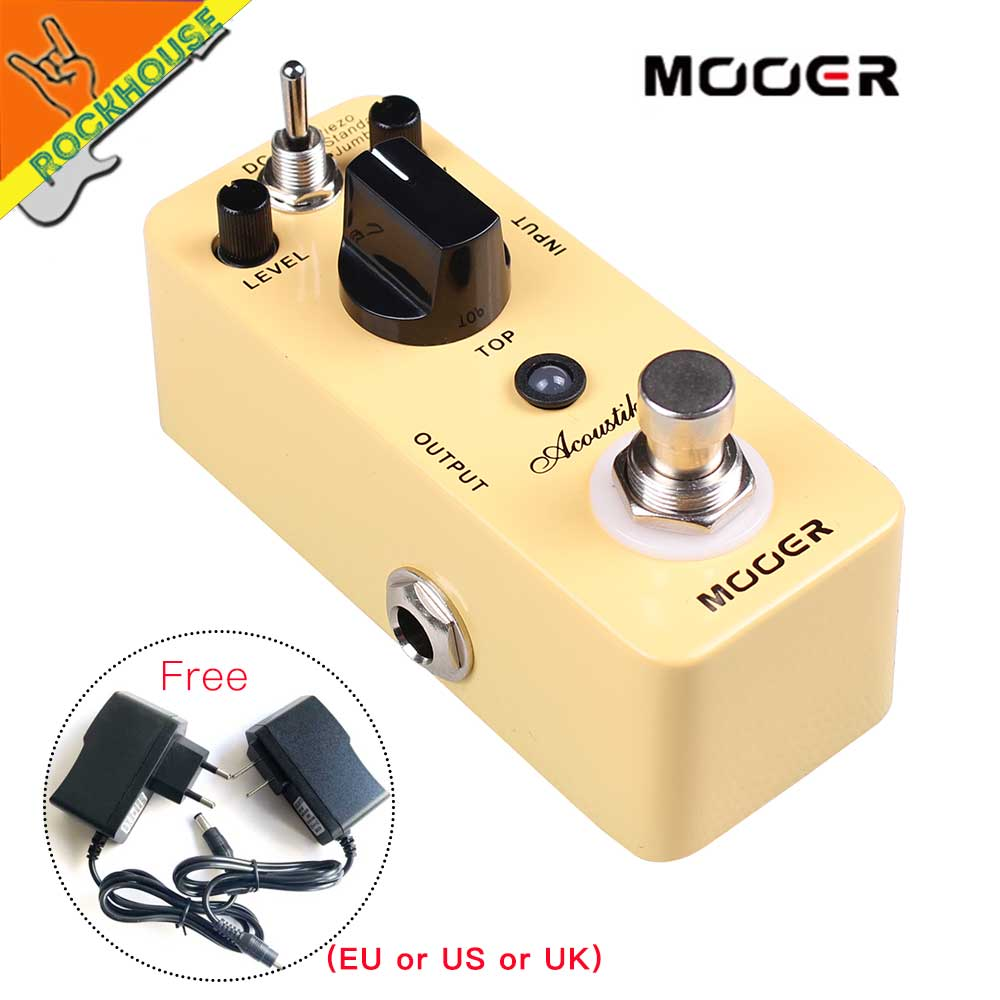 MOOER Acoustikar Acoustic Guitar Simulator Effects Pedal get Acoustic guitar tone with Electric Guitar True Bypass Free Shipping aroma adr 3 dumbler amp simulator guitar effect pedal mini single pedals with true bypass aluminium alloy guitar accessories