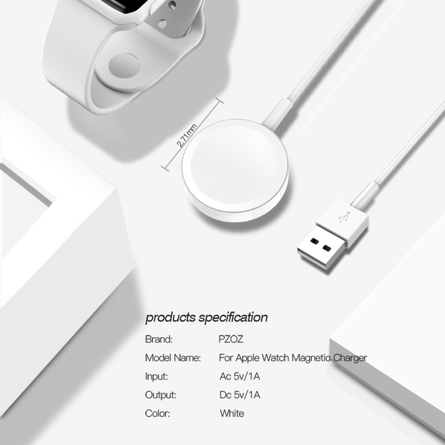 Pzoz magnetic charger for apple watch wireless charging Usb cable Adapter support for iwatch 1 2 3 4 accessories white portable