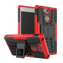 Para sony xperia xa xa1 xa2 xa3 plus ultra l1 l2 l3 e5 c5 c6 tpu + pc à prova de choque armadura de silicone caso do telefone de luxo suporte capa escudo