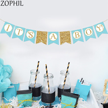 Baby Shower Shiny banner Its a boy girl Gender Reveal Party Decoration Blue Pink Garland Oh Baby Shower Decorations Boy Girl