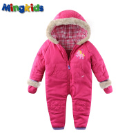 Mingkids Infant Baby Girl Rompers Spring Autumn Ski Jumpsuit Outdoor Padded Warm Snowsuit Windproof Faux Fur