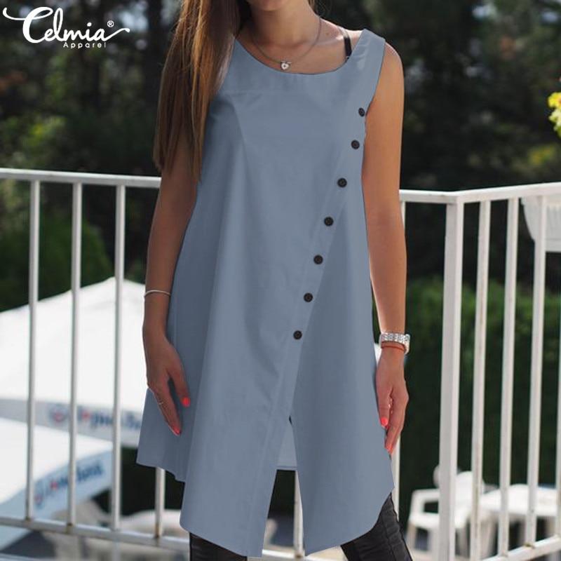 Celmia Women Retro Blouses Asymmetrical Tunic Tops 2019 Summer Sleeveless Buttons Casual Loose Split Long Shirt Plus Size Blusas