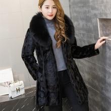 fur coat,Genuine Leather ,good quality , women natural black coats of fur, Mink Fur with Fox Fur Colla