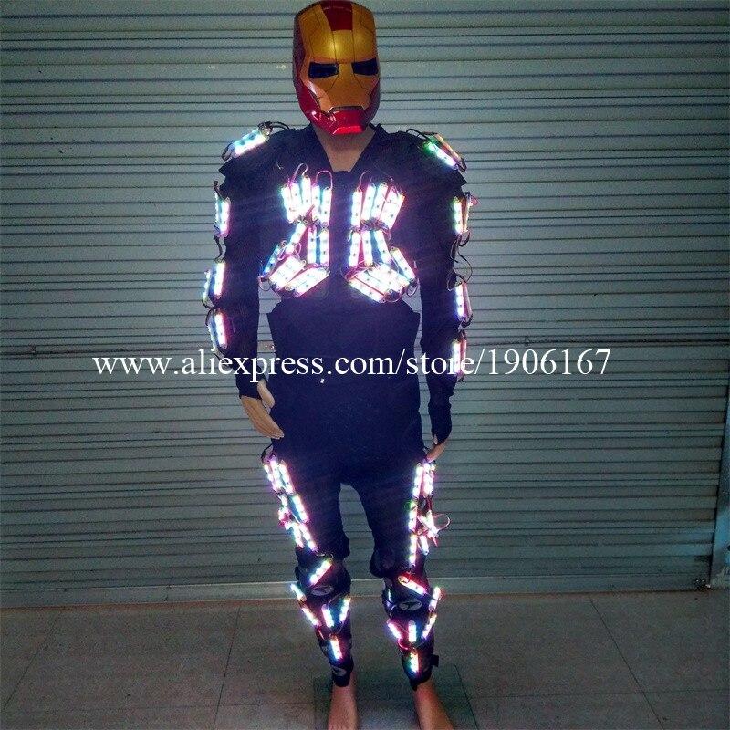 Новый Дизайн танцевальный костюм LED робот Световой светящийся Костюмы для вечеринок Для мужчин Для женщин свет Костюмы DHL Бесплатная достав