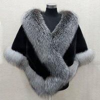 Осенне зимняя обувь Женская Люкс 100% реального норки пальто с мехом меха песца мех средней длины плащ теплая большой пашмины