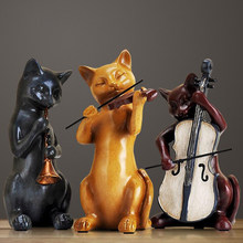 3PCS Creative Cute Resin Cat Band Craft Livingroom Statue Home Furnishing Decoration Ornament Personality Office Figurines Arts(China)