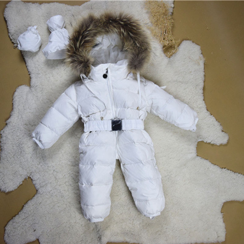 jumpsuit kids winter baby snowsuit newborn christmas romper boys bodysuit white duck down real fur hooded infant baby girls coat puseky 2017 infant romper baby boys girls jumpsuit newborn bebe clothing hooded toddler baby clothes cute panda romper costumes