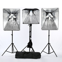 Фотографии аксессуары фотостудия Видео Softbox Комплект оборудования 2 * четыре лампы держатель световой короб 9 * лампы освещения мягкий палат