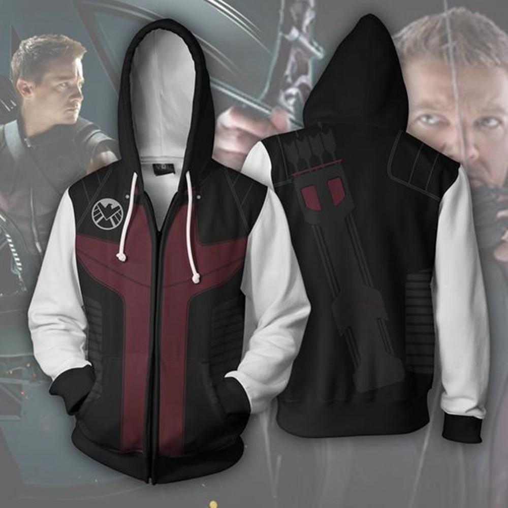 The Avengers Hawkeye Cosplay Costume Men's Sweatshirt Hooded Uniform Streetwear Women Mens Hoodies Zipper Hoddies