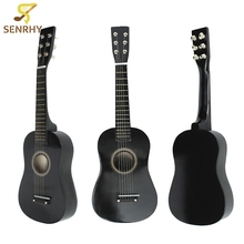 Black 6 String Wooden Basswood Plywood Panels Professional Guitar Acoustic Instrument Kids Music+Guitar Pick+Wire Strings